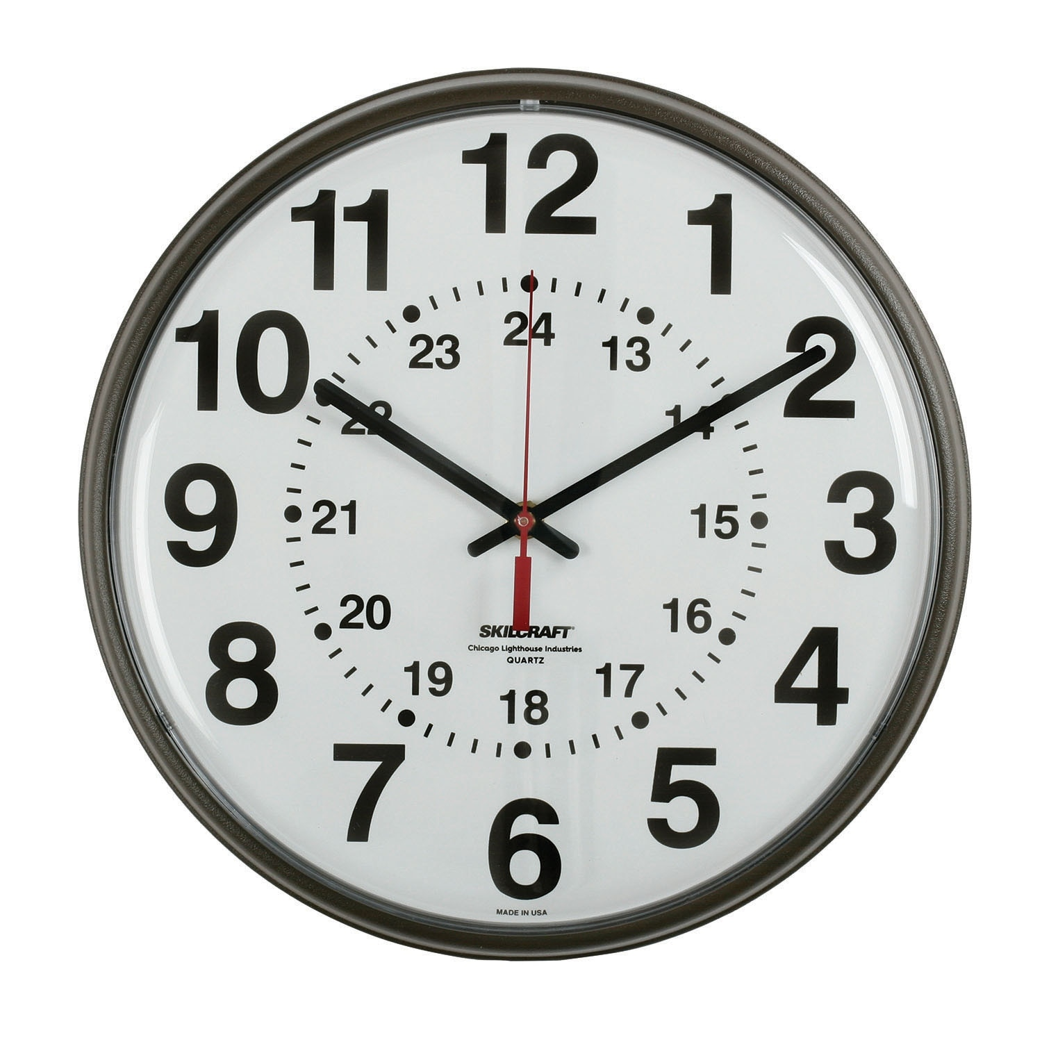 Radio Controlled Atomic 12 24 Hour Wall Clock Plastic Frame